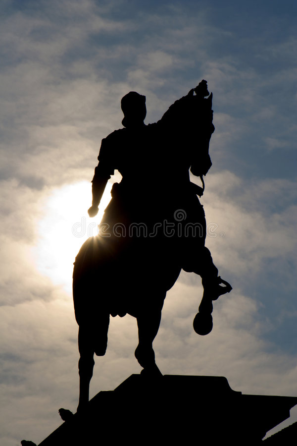 silhouette Venise de chevalier images stock