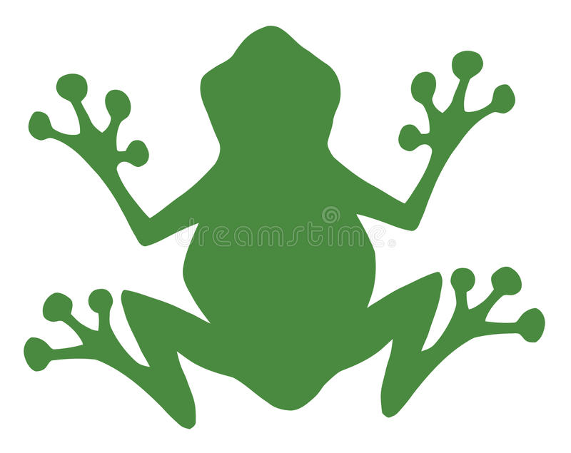 Silhouette verte de grenouille illustration de vecteur
