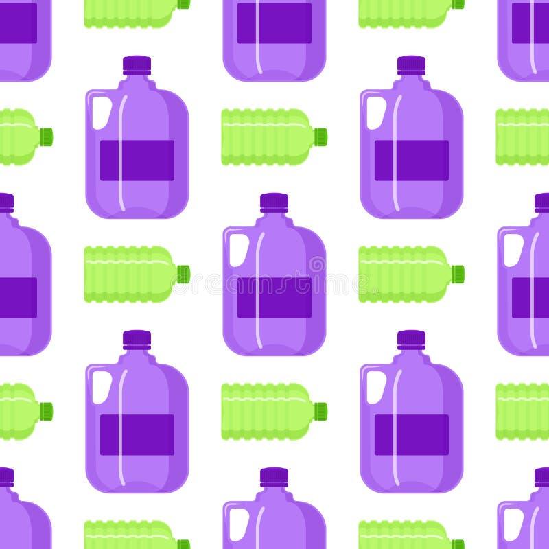 Silhouette vide liquide de calibre de bouteille d'eau de vecteur de blanc de nature de modèle d'aqua liquide sans couture propre  illustration de vecteur