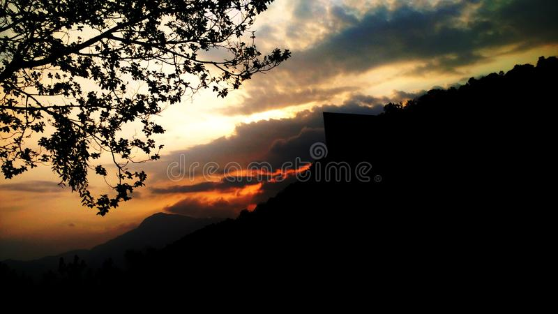 Silhouette View of Landscape Under Golden Hour royalty free stock photo