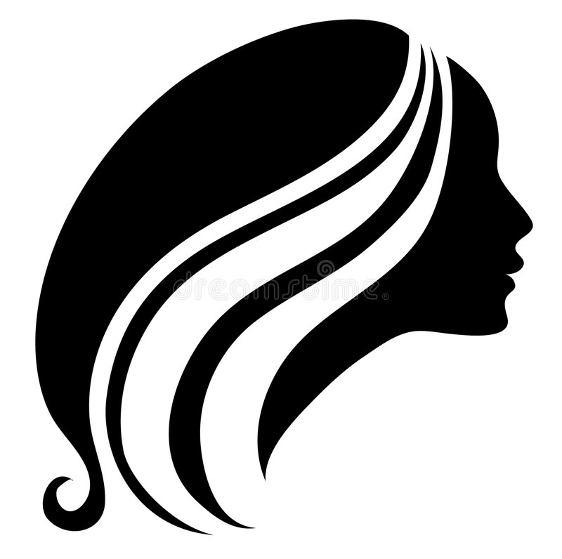 Silhouette of a vintage girl royalty free illustration