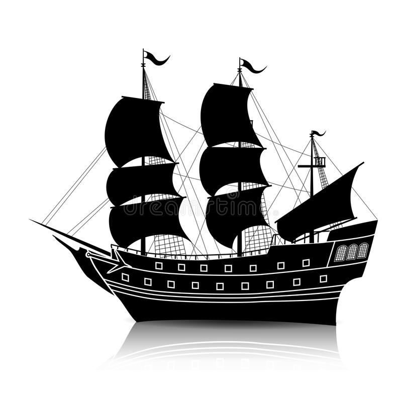 Free Silhouette Vintage Sailing Ship With Reflection Royalty Free Stock Photo - 90779845
