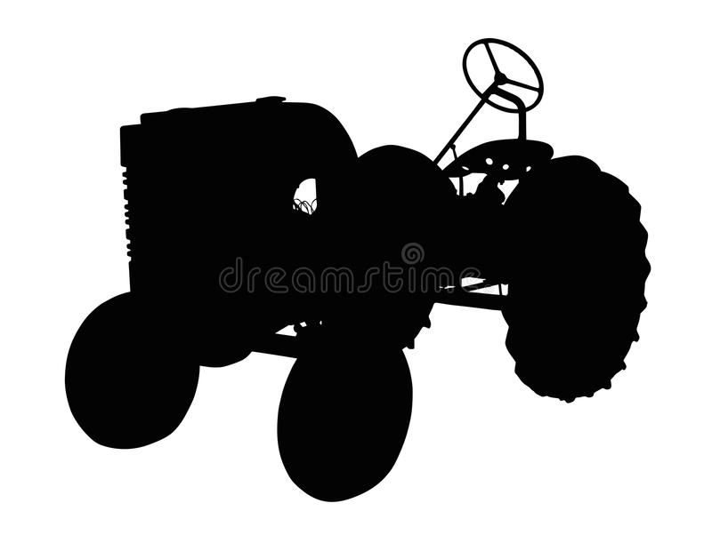 Silhouette of a Vintage Small Tractor royalty free illustration