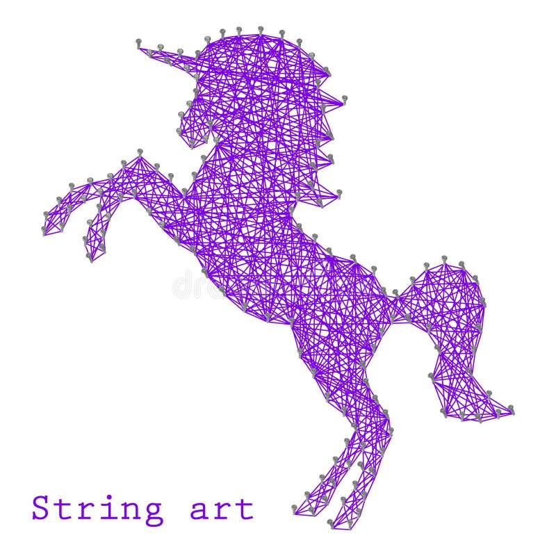 Silhouette of a violet unicorn, profile view. Nail thread string art design. Vector. Illustration stock illustration