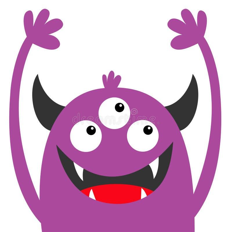Silhouette violette principale de monstre Trois yeux, croc de dents, klaxons, mains  Caract?re dr?le de bande dessin?e mignonne d illustration stock