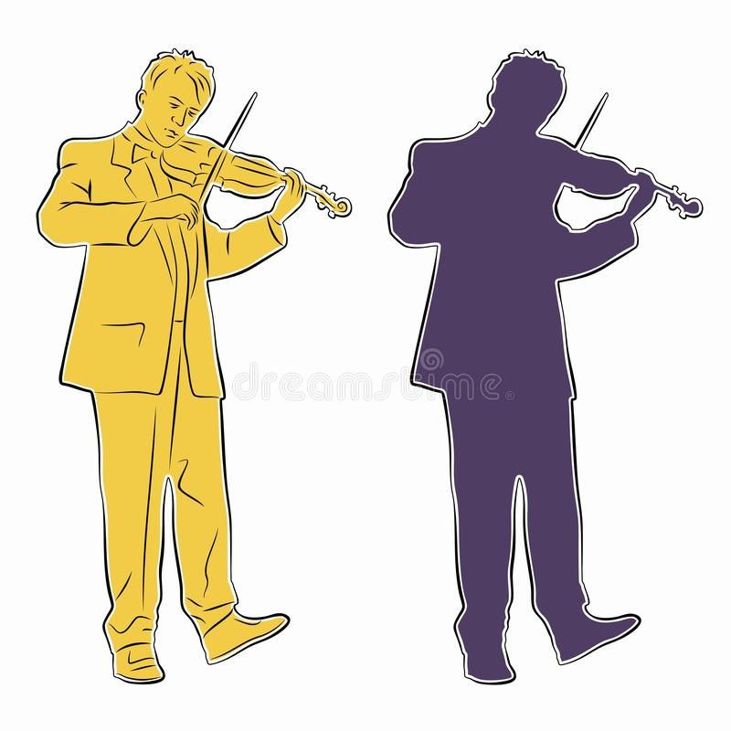 Silhouette of violinist. vector drawing. Illustration of violinist. color drawing, white background royalty free illustration