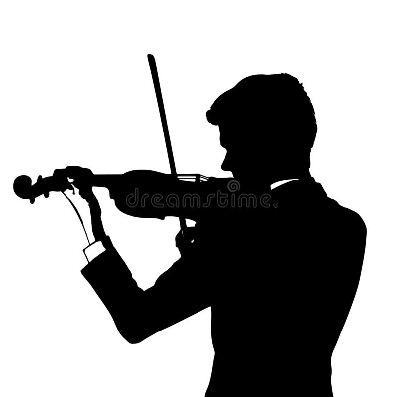 Silhouette of a violinist on a white background. Vector illustration vector illustration