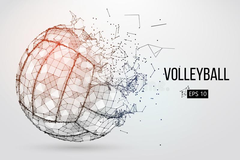 Silhouette of a volleyball ball. Vector illustration. Silhouette of a volleyball ball. Dots, lines, triangles, text, color effects and background on a separate stock illustration
