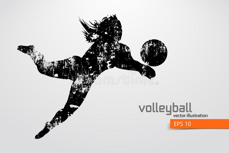 Silhouette of volleyball player. Background and text on a separate layer, color can be changed in one click. Vector illustration
