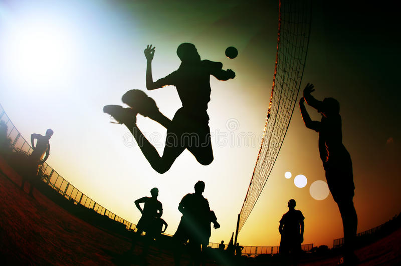 Download Silhouette Volleyball Player Stock Photo - Image of brushed, solid: 34028772