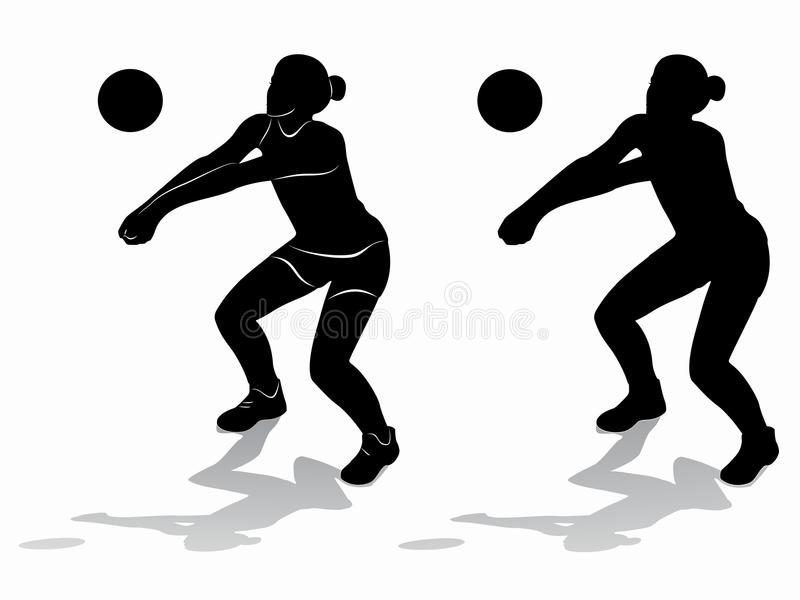 Illustration Abstract Volleyball Player Silhouette: Silhouette Of A Volleyball Player Woman, Vector Draw Stock