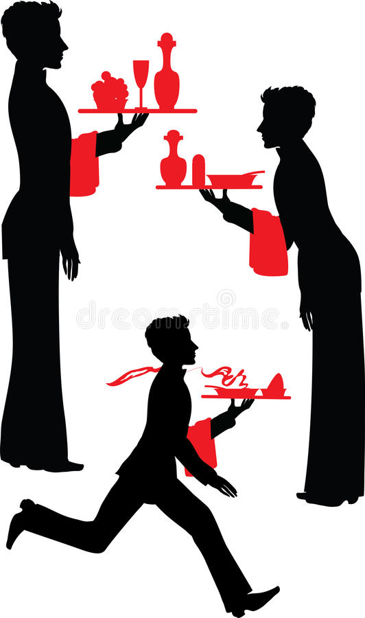 Silhouette Waiter with the tray stock image