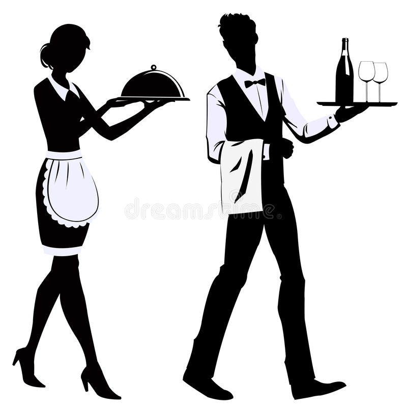 Silhouette waiters stock illustration