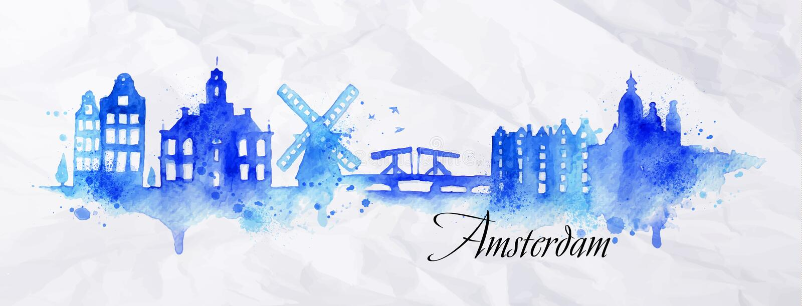 Silhouette watercolor Amsterdam. Silhouette Amsterdam city painted with splashes of watercolor drops streaks landmarks in blue tones vector illustration