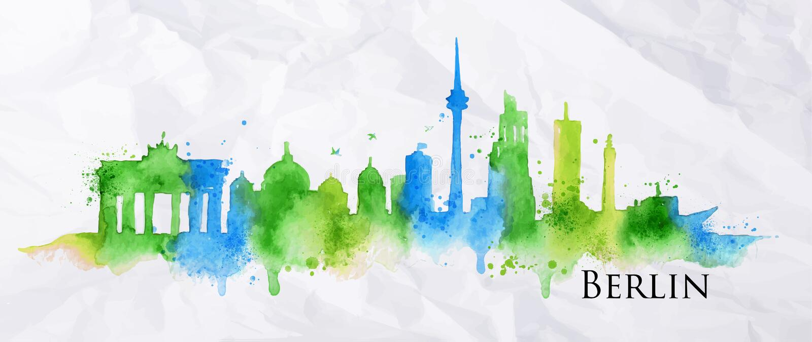 Silhouette watercolor Berlin. Silhouette Berlin city painted with splashes of watercolor drops streaks landmarks in blue and green tones royalty free illustration
