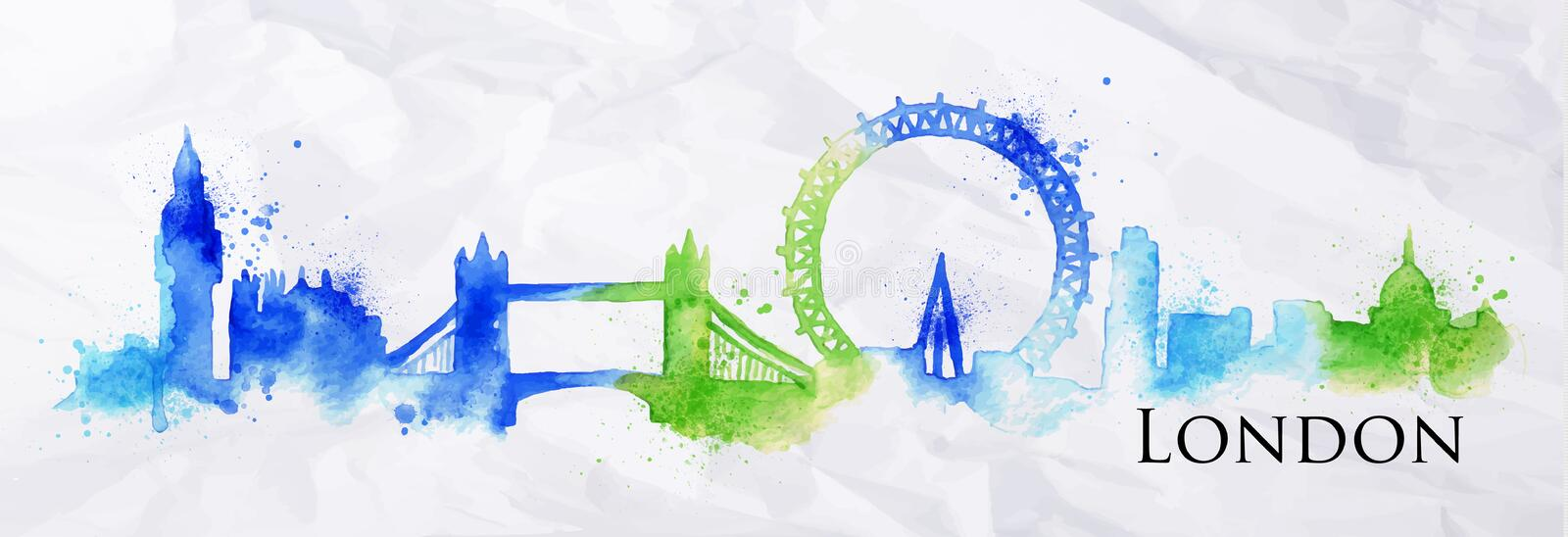 Silhouette watercolor London royalty free illustration