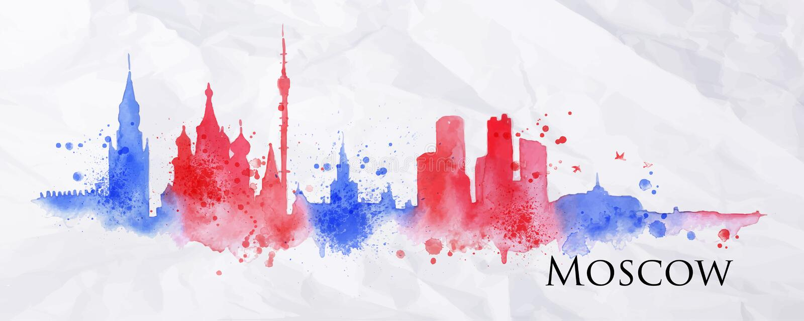 Silhouette watercolor Moscow vector illustration