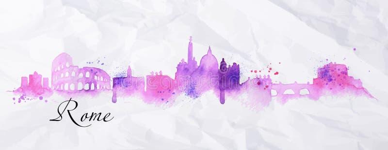 Silhouette watercolor Rome vector illustration