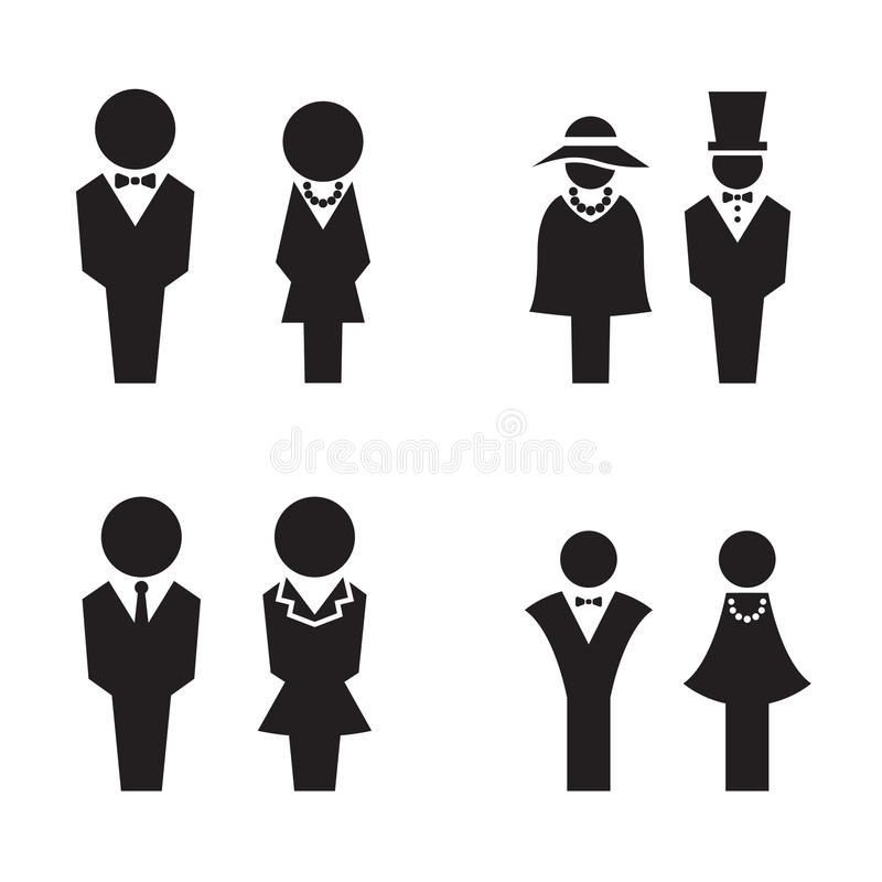Silhouette WC, Restroom, toilet, icons set stock illustration