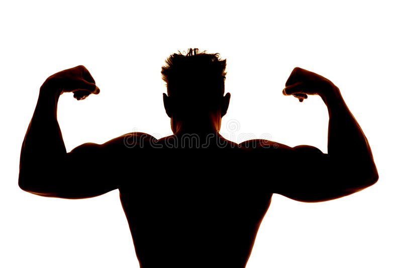 Download Silhouette Wet Man Muscles Back Flex Stock Image - Image: 37254835