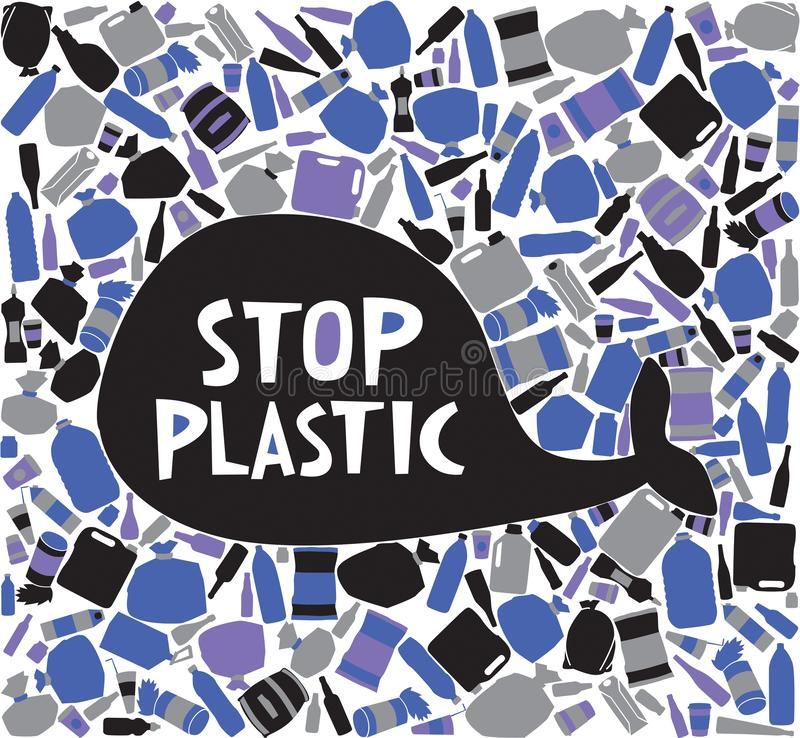 The silhouette of a whale is surrounded by plastic trash. Inscription stop plastic stock illustration