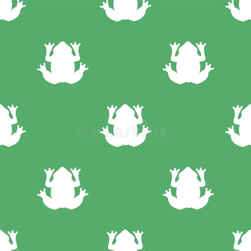 Silhouette of a white frog on a green background. royalty free illustration