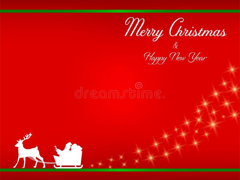 Silhouette White Santa claus en zijn sleigh royalty-vrije illustratie