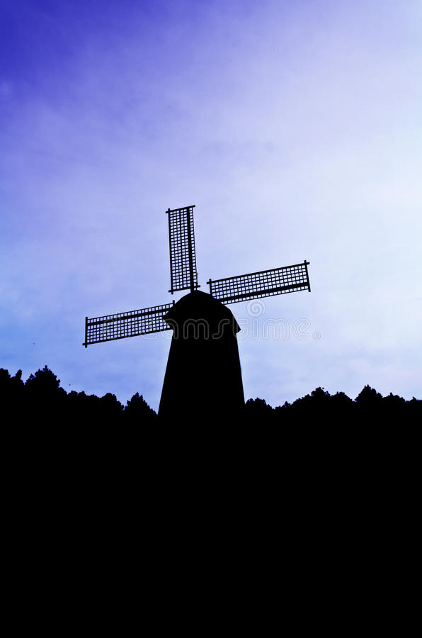 Download Silhouette Wind Generator On Colorful Sky Stock Photo - Image: 29439494