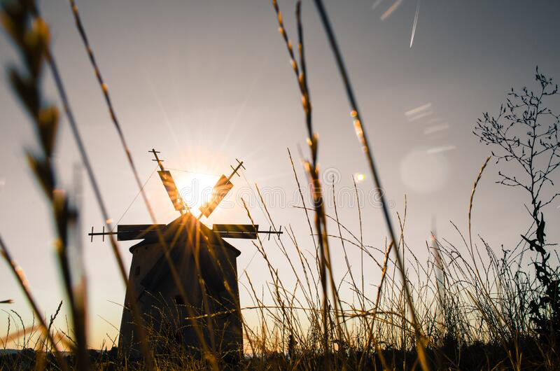 Download Silhouette Of Windmill During Daytime Stock Photo - Image of photo, grass: 83018004