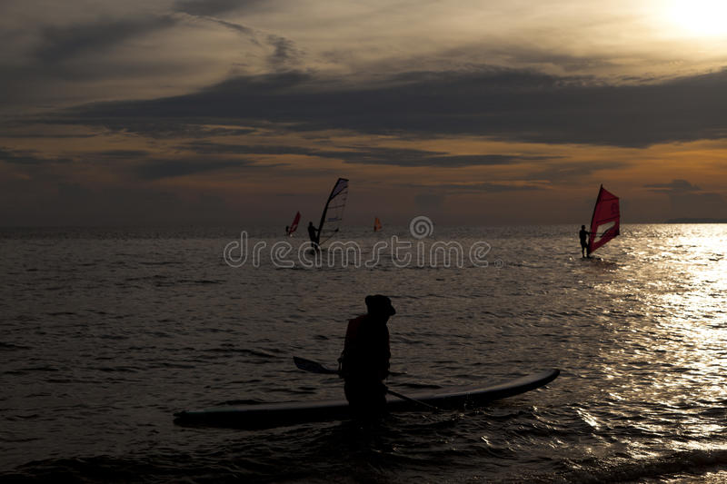 Silhouette of windsurfers. In the sunset sea royalty free stock photo