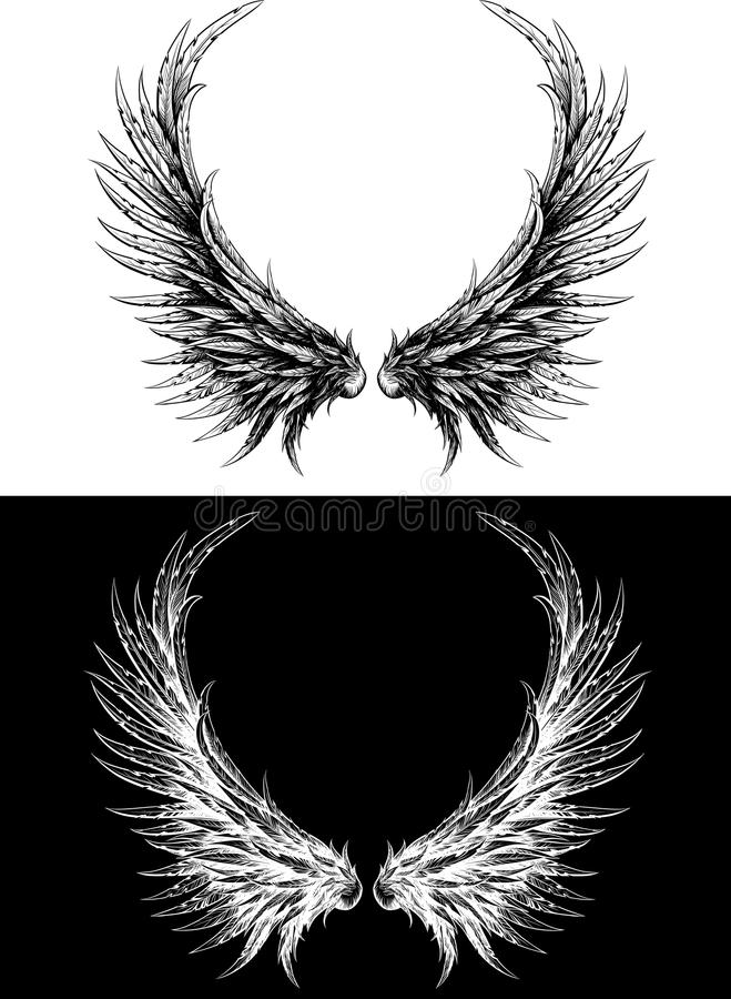 Download Silhouette Of Wings Made Like Ink Drawing Royalty Free Stock Image - Image: 22553936
