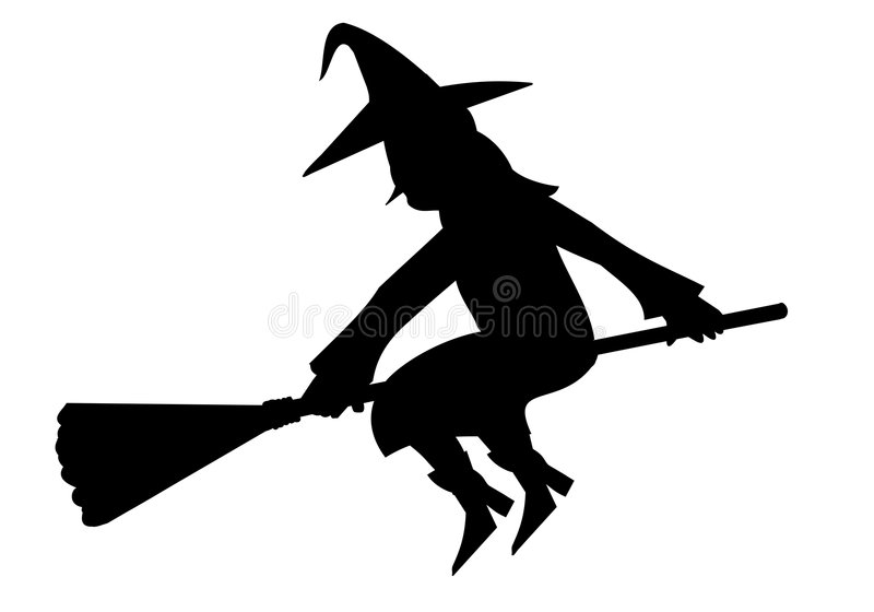 Silhouette of witch stock photo
