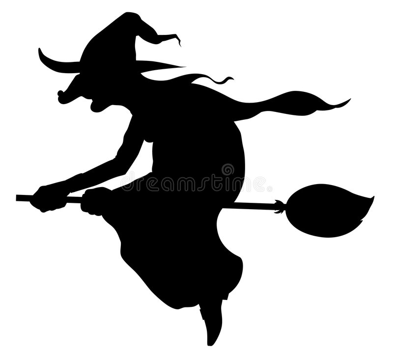 Silhouette Of Witch Flying On Broom Royalty Free Stock Images