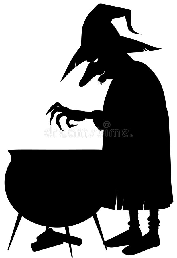 Download Silhouette Of Witch Making Potion Stock Vector - Image: 6231317
