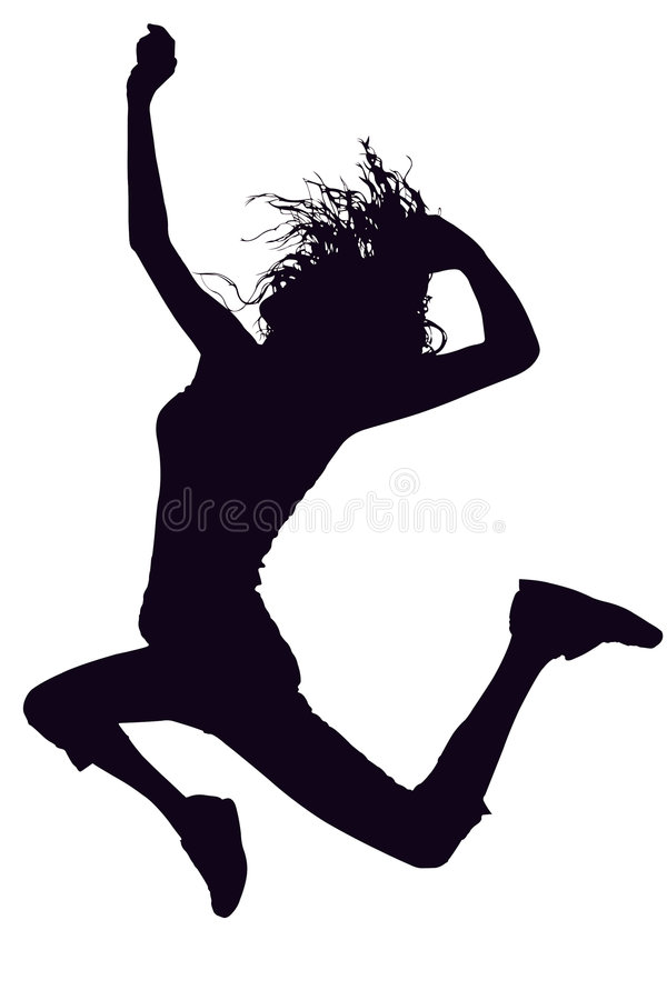 Free Silhouette With Clipping Path Girl Jumping Royalty Free Stock Photos - 757688
