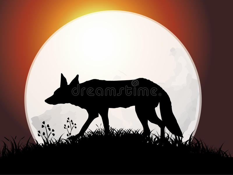 Silhouette of wolf stock illustration