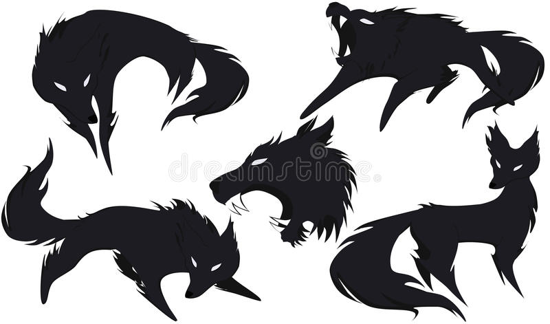 Silhouette of a wolf in different versions stock illustration
