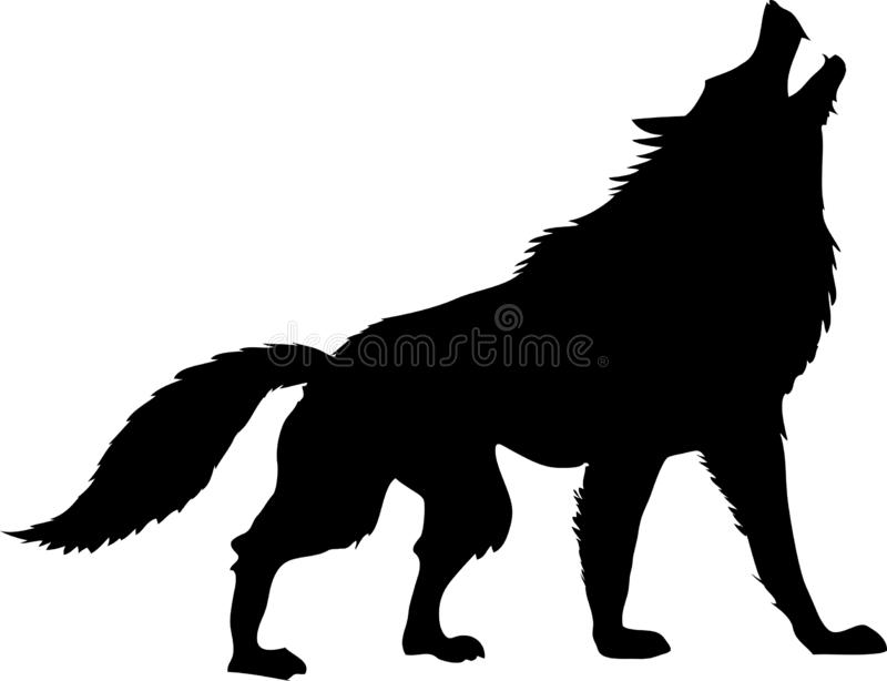 Silhouette Wolf Howling Black And White - Vector Illustration vector illustration