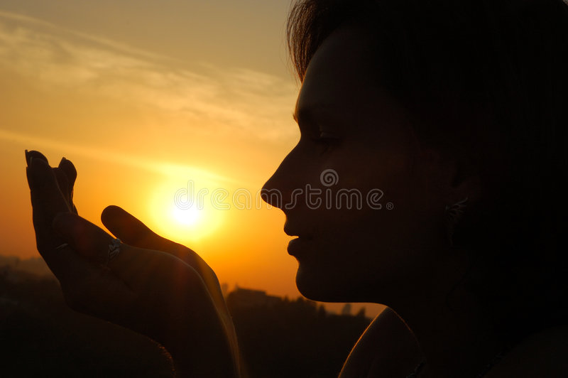 Download Silhouette woman stock image. Image of exercise, sunset - 3762191