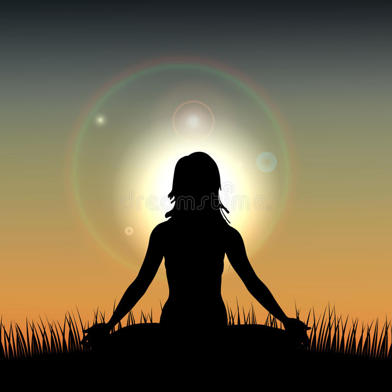 Silhouette of a Woman acts yoga against the sunrise. Vector illustration vector illustration