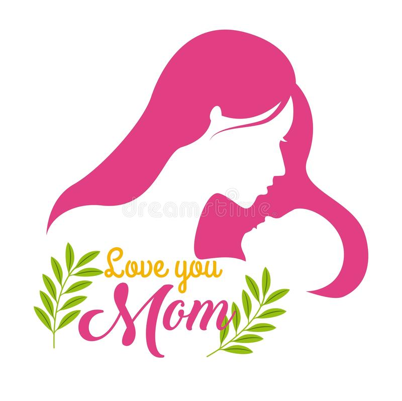 Silhouette woman and baby love you mom floral celebration stock illustration