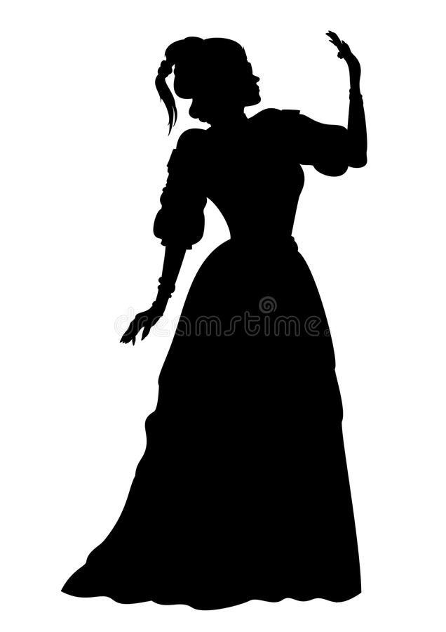 Silhouette woman in a ball gown. Illustration silhouette of a woman in a ball gown. Available in vector EPS format stock illustration