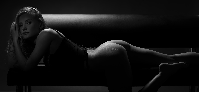Silhouette woman black and white stock photos
