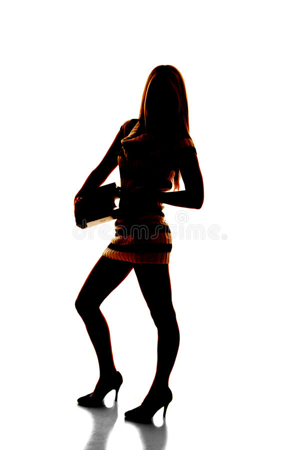 Download Silhouette Of Woman With Books Stock Photo - Image: 31281090