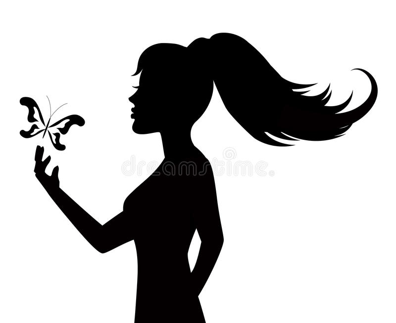 Silhouette Of A Woman And Butterfly Stock Photo