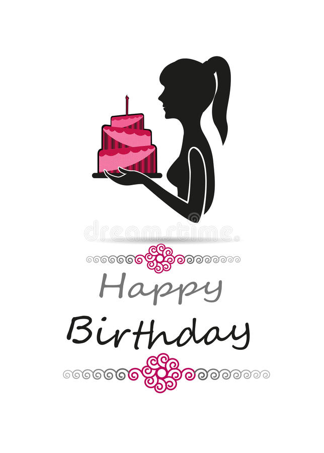 Silhouette of woman carrying a birthday cake happy birthday card download silhouette of woman carrying a birthday cake happy birthday card full color stock vector bookmarktalkfo Images