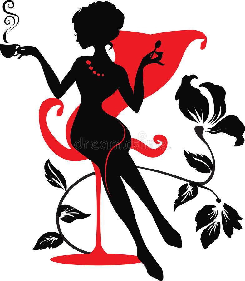 Silhouette of woman with a cup of coffee stock image