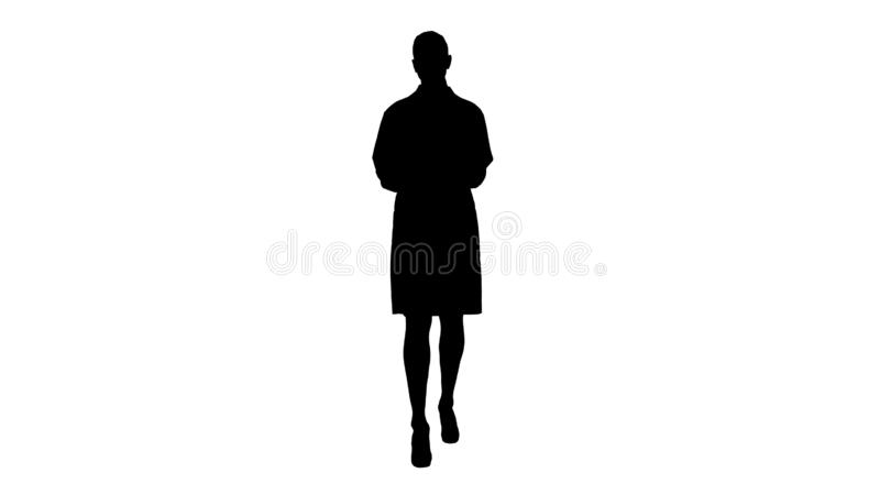 Silhouette Woman doctor explaining and talking to camera while walking. Full length view. Silhouette Woman doctor explaining and talking to camera while walking stock illustration