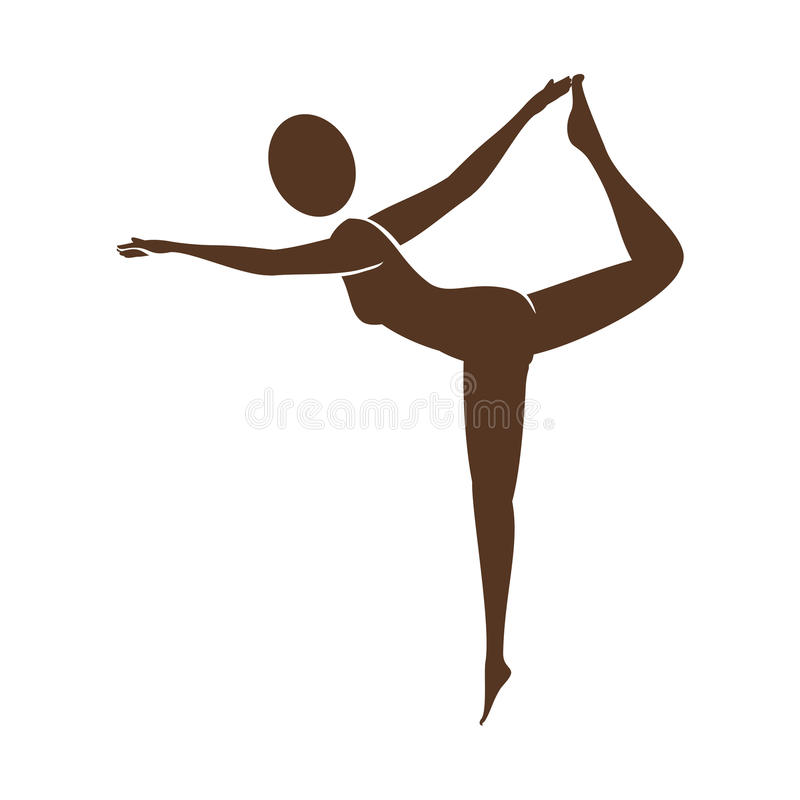Silhouette of woman doing yoga. Illustration design stock illustration