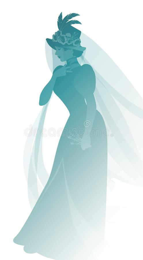 Silhouette of woman dressed in veils and ancient widow clothes carrying a sprig of flowers in one hand. royalty free illustration